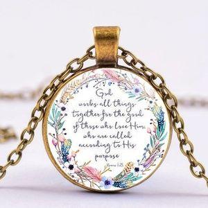 Jewelry - NWT Scripture Pendant Necklace Romans 8:28